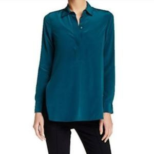 Vince Silk Tunic Top with Collar